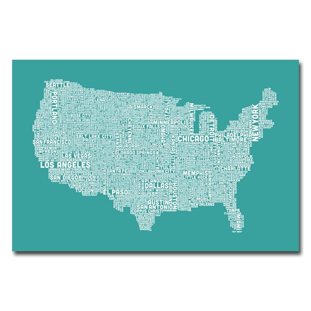 Trademark Fine Art 16 In X 24 US City Map XV Canvas