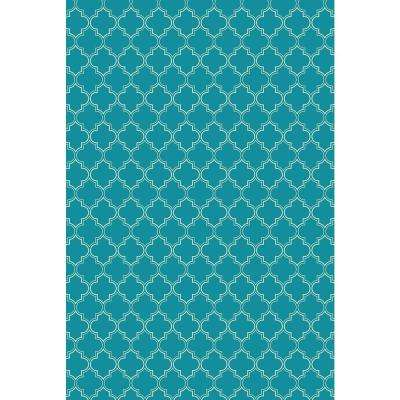 Quaterfoil Design 2ft x 3ft teal & white Indoor/Outdoor vinyl rug.