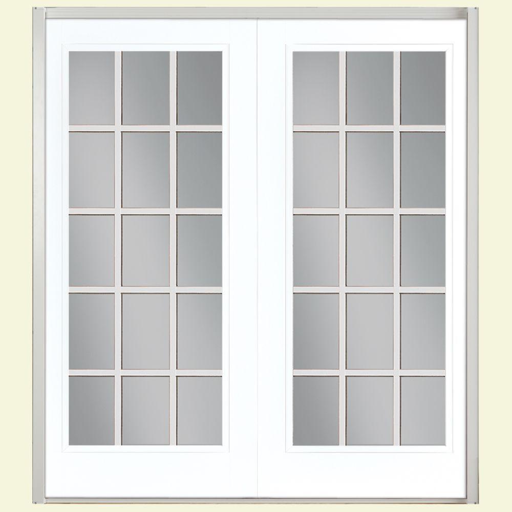 Masonite 72 in. x 80 in. Ultra White Fiberglass Prehung Left-Hand Inswing 15 Lite GBG Patio Door w/ Brickmold, Vinyl Frame