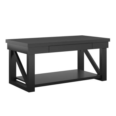Caryle 44 in. Black Large Rectangle Wood Coffee Table with Drawers