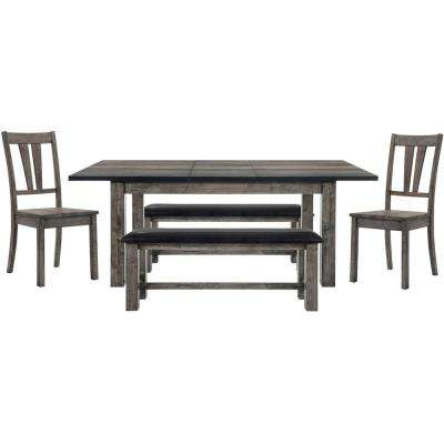 Drexel 5 Piece Weathered Gray Dining Set: Table, 2 Wooden Side Chairs