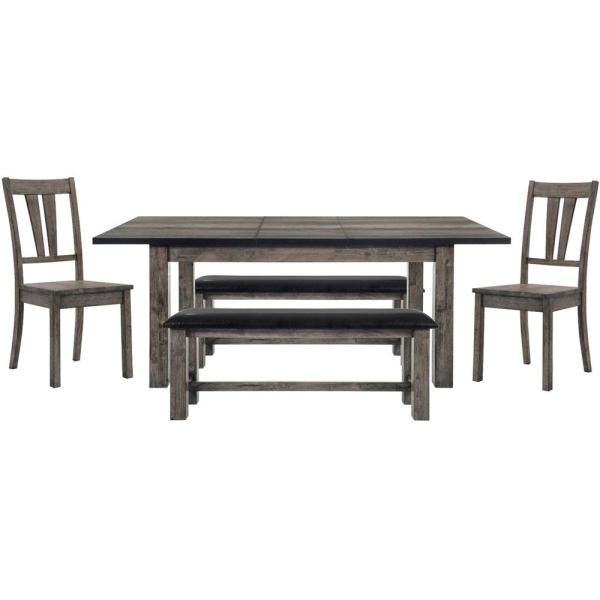 Drexel 5-Piece Weathered Gray Dining Set: Table, 2-Wooden Side Chairs and