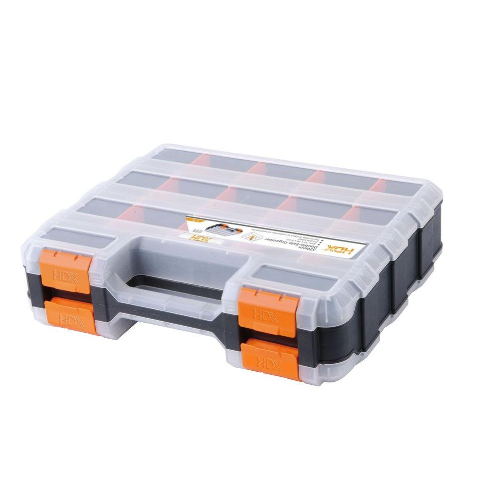 HDX 13 in. 34-Compartment Double Sided Small Parts Organizer,  Black And Orange