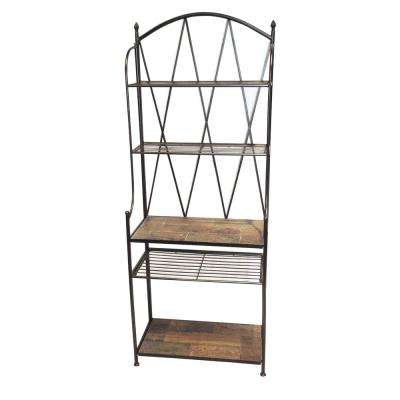 30.3 in. W Baker's Rack with Slate Top in Black