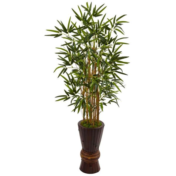 Nearly Natural Indoor 4.5 in. Bamboo Artificial Tree in Bamboo Planter