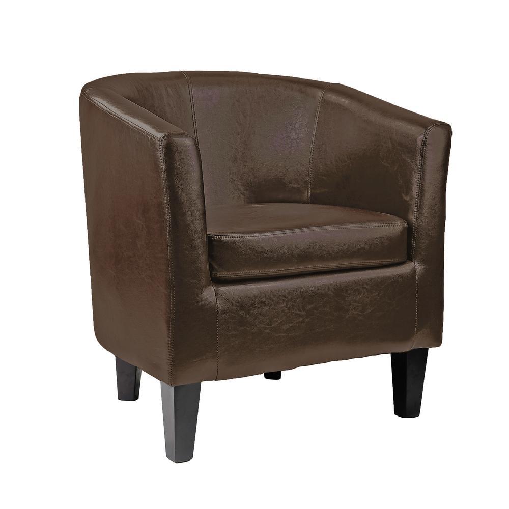 Antonio Dark Brown Bonded Leather Tub Chair