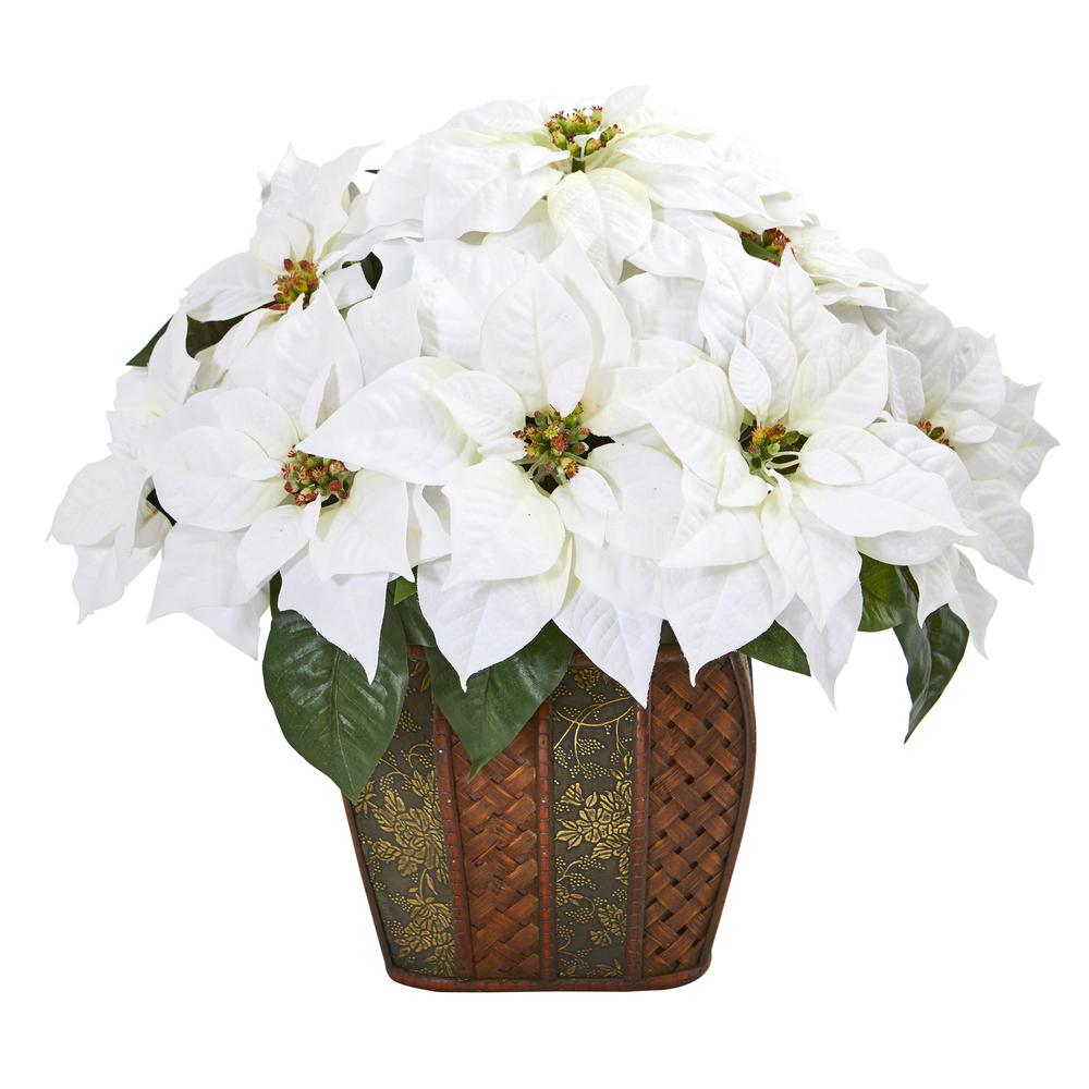 Nearly Natural 18 In Poinsettia Artificial Arrangement In