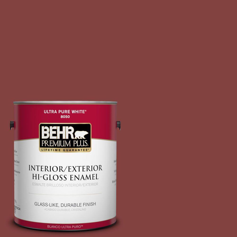BEHR Premium Plus 1-gal. #S-H-170 Red Brick Hi-Gloss Enamel Interior/Exterior Paint