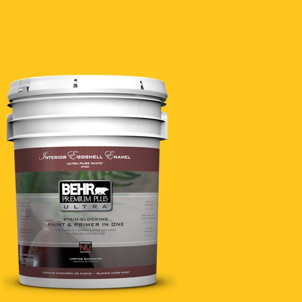 BEHR Premium Plus Ultra 5-gal. #P300-7 Unmellow Yellow Eggshell Enamel Interior Paint