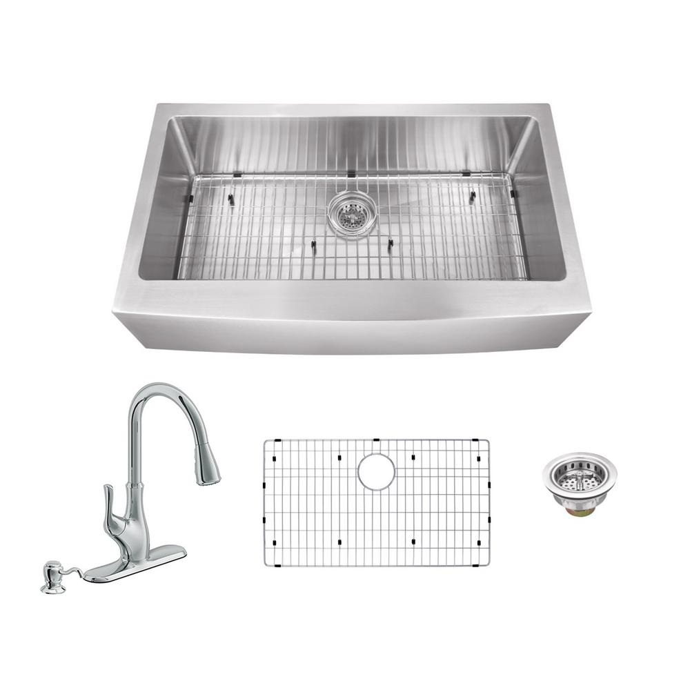 All-in-One Apron Front Stainless Steel 35.875 in. Single Bowl Kitchen Sink