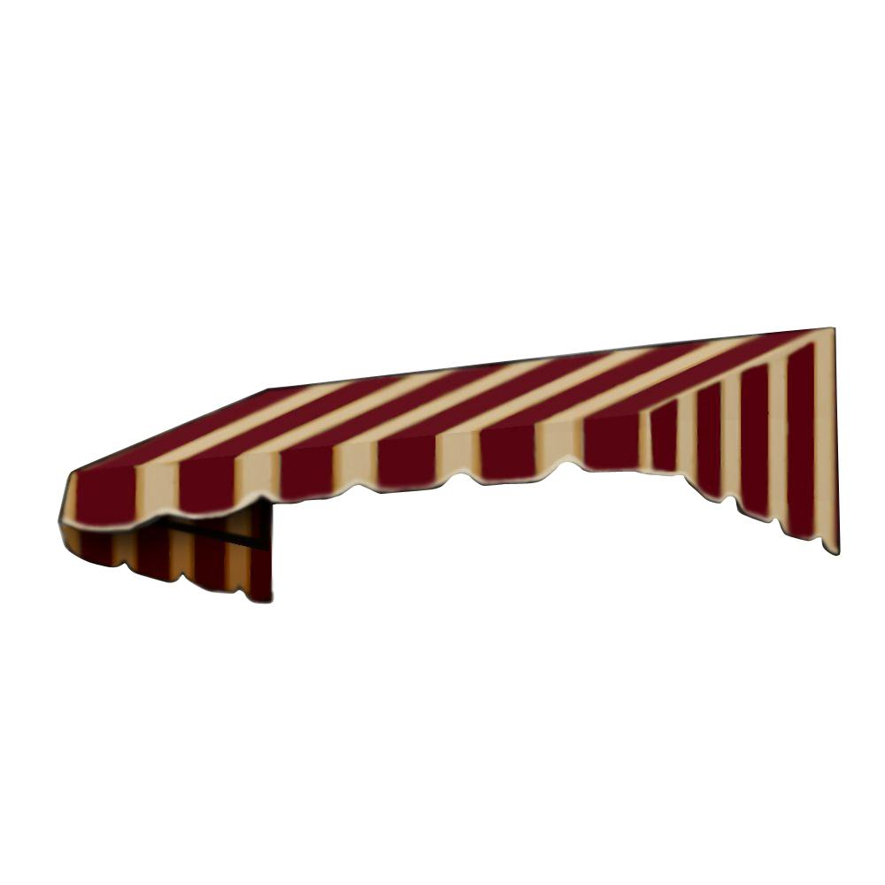 AWNTECH 12 ft. San Francisco Window/Entry Awning (44 in. H x 48 in. D) in Burgundy/Tan Stripe