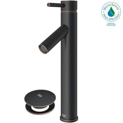 Dior Single Hole Single-Handle Vessel Bathroom Faucet with Pop-Up Drain in Antique Rubbed Bronze