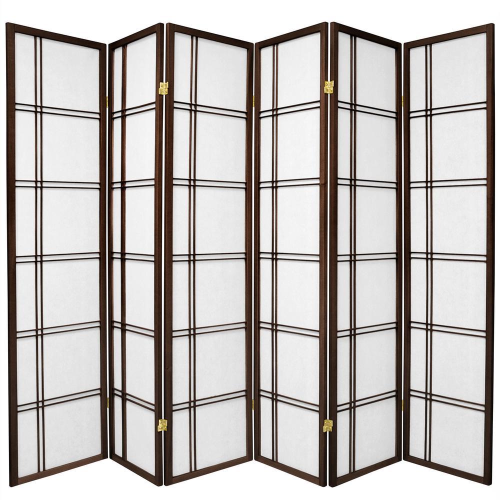 Oriental Unlimited 6 ft. Walnut (Brown) 6-Panel Room Divider