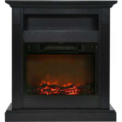 Sienna 34 in. Electric Fireplace with 1500-Watt Log Insert and Black Coffee Mantel