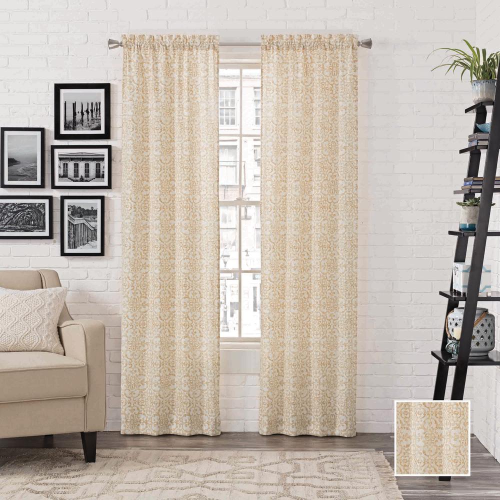 Brockwell Window Curtain Panels in Wheat - 56 in. W x 95 in. L (2-Pack)