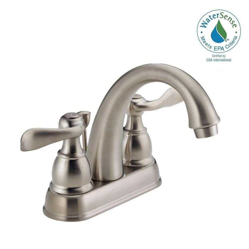 Delta Windemere 4 in. Centerset 2-Handle Bathroom Faucet with Metal Drain Assembly in Stainless