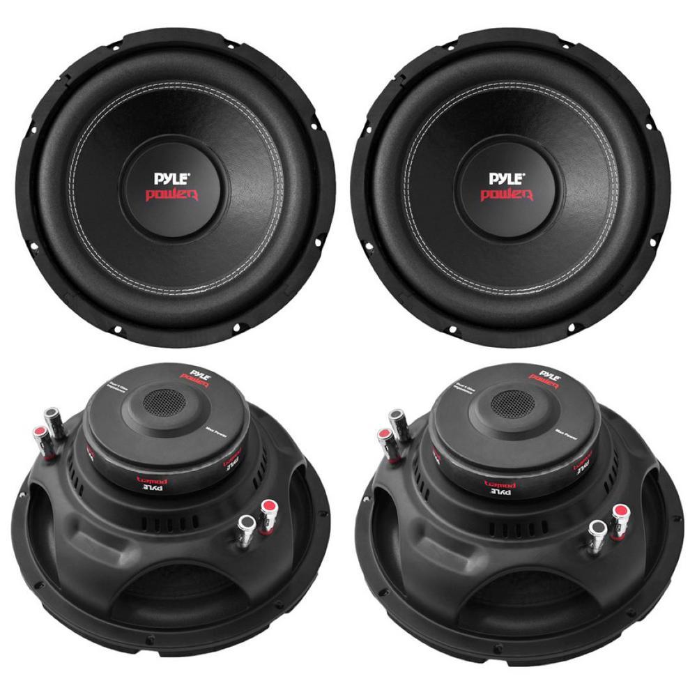 12 in. 6400-Watt 4 Ohm Black DVC Car Stereo Power Audio Subwoofers