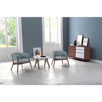 Chapel Blue Polyester Arm Chair (Set of 2)