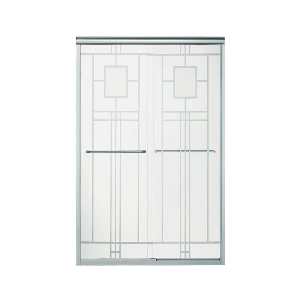 STERLING Finesse 47-5/8 in. x 70-1/16 in. Semi-Frameless Sliding Shower Door in Silver with Handle