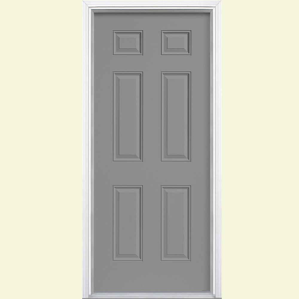Masonite 32 in. x 80 in. 6-Panel Silver Cloud Left Hand Inswing Painted Smooth Fiberglass Prehung Front Door with Brickmold
