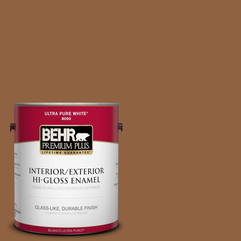 BEHR Premium Plus 1-gal. #260F-7 Caramel Latte Hi-Gloss Enamel Interior/Exterior Paint