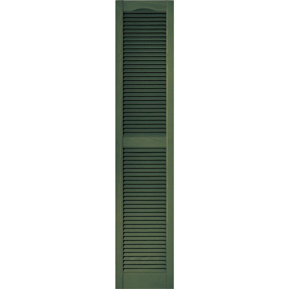 Builders Edge 15 in. x 72 in. Louvered Vinyl Exterior Shutters Pair in #283 Moss