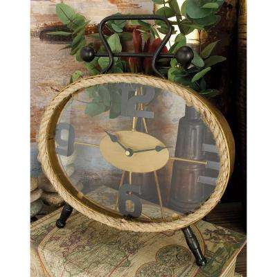 13 in. x 12 in. Rustic Iron and Rope Oval Table Clock