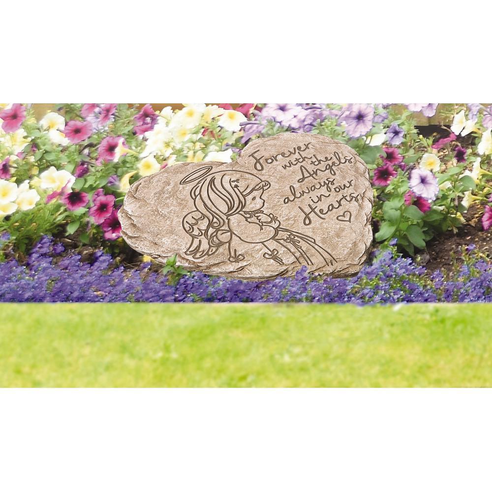 Angel 8 in. x 7.25 in. Resin Memorial Garden Stone