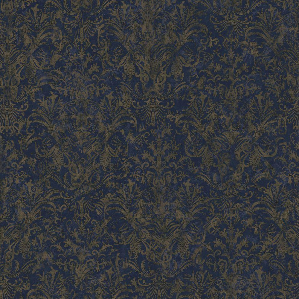 The Wallpaper Company 56 sq. ft. Metallic Striped Damask Wallpaper