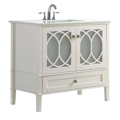 Paige 36 in. W x 21.5 in. D x 34.5 in. H Vanity in Soft White with Quartz Marble Vanity Top in White with White Basin