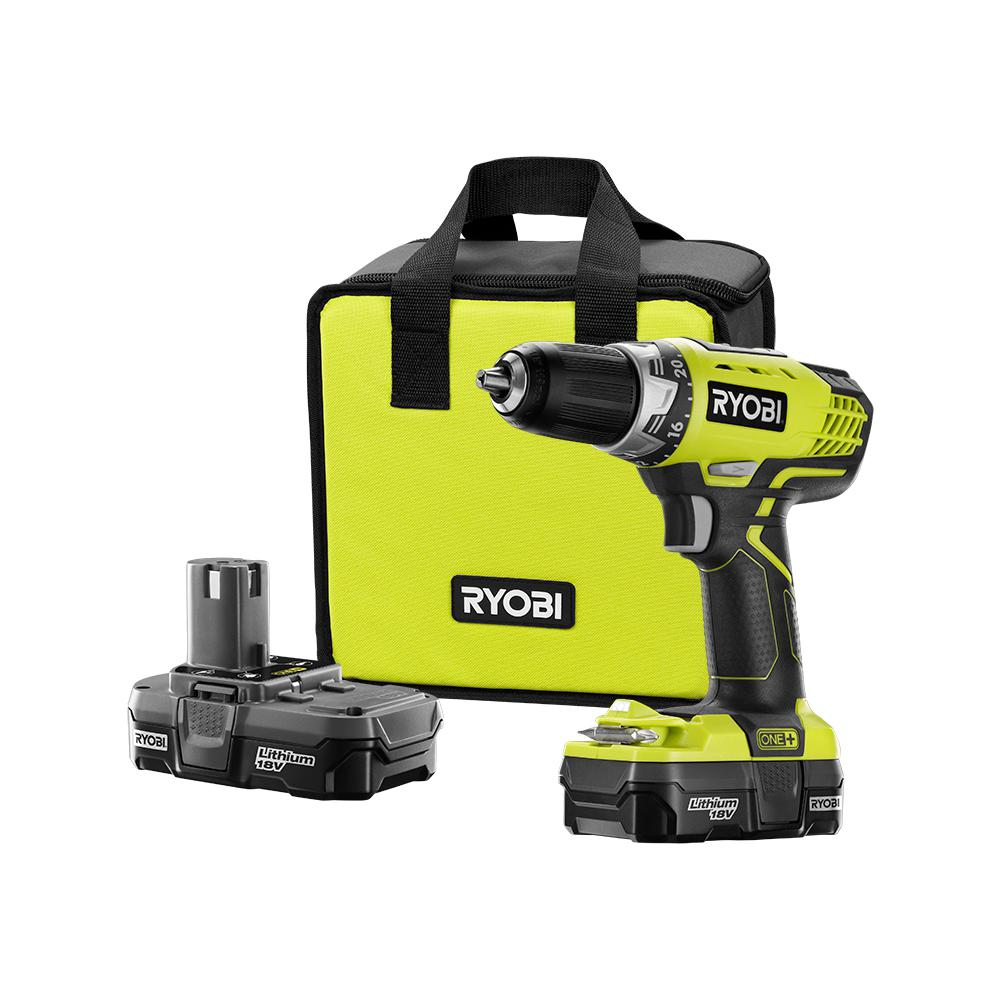 RYOBI RYOBI 18-Volt ONE+ Lithium-Ion Cordless 1/2 in. Compact Drill/Driver Kit with (2) 1.3 Ah Batteries, Charger, and Tool Bag