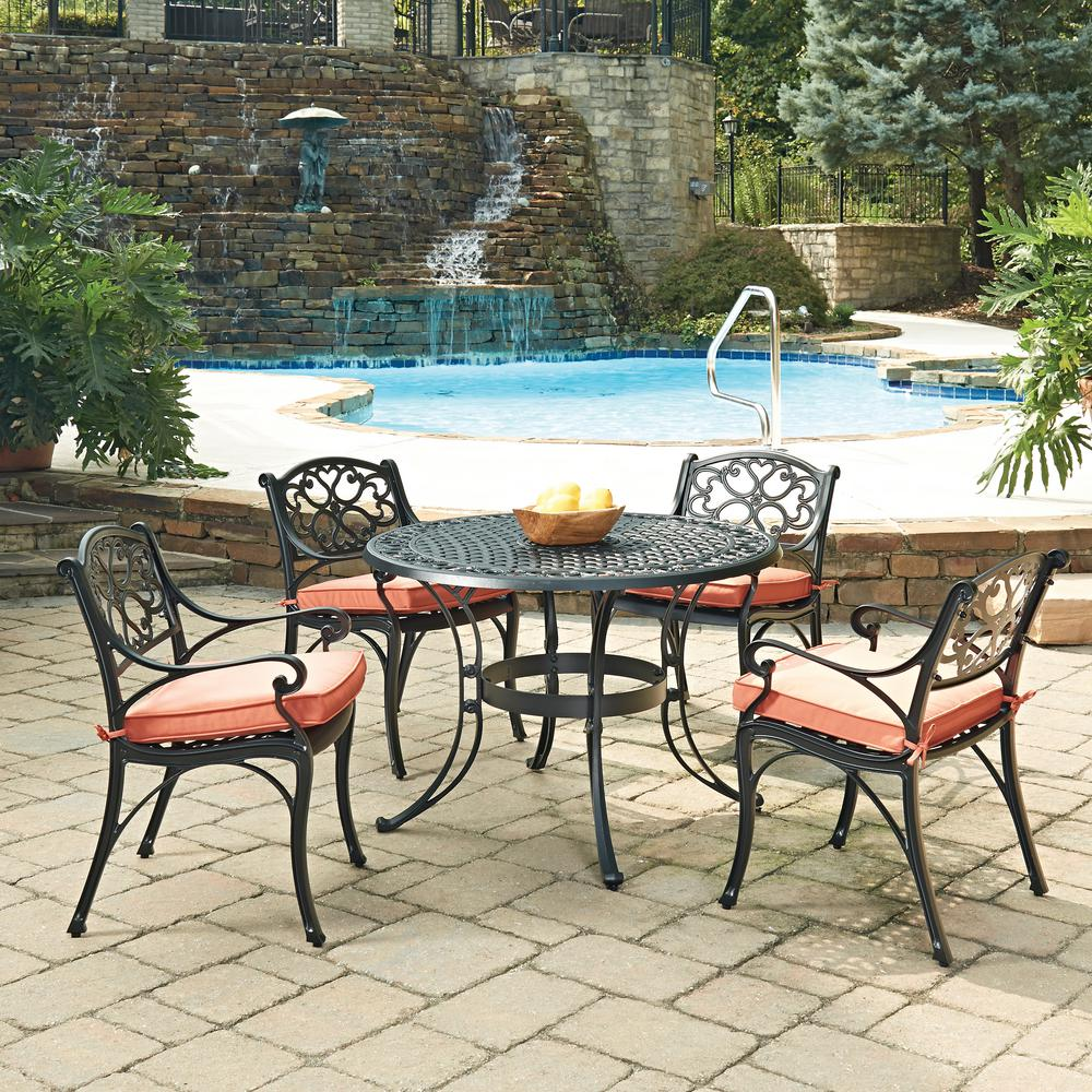 Home Styles Biscayne Black 5 Piece Cast Aluminum Outdoor Dining Set With  Coral Cushions