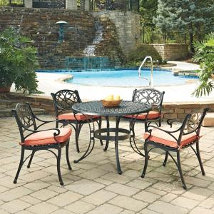 Home Styles Biscayne Black 5-Piece Cast Aluminum Outdoor Dining Set with Coral Cushions by Home Styles