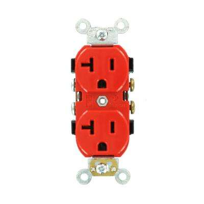 20 Amp Industrial Grade Heavy Duty Self Grounding Duplex Outlet, Red