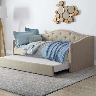 Fairfield Beige Tufted Leatherette Twin/Single Day Bed with Trundle