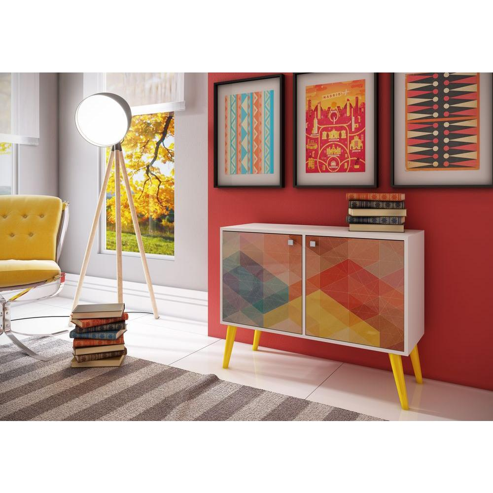 Beau Manhattan Comfort Avesta White And Multi Colored Storage Console Table