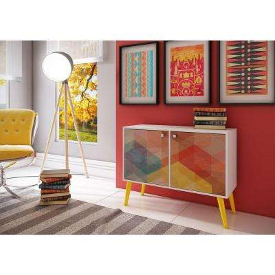Avesta White and Multi-Colored Storage Console Table