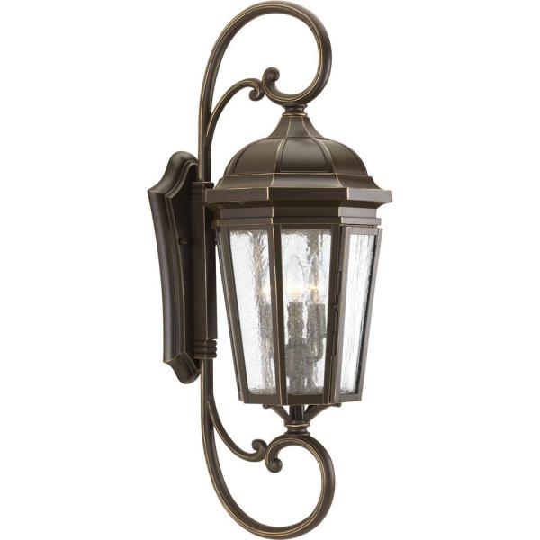 Verdae Collection 3-Light 30.5 in. Outdoor Antique Bronze Wall Lantern Sconce