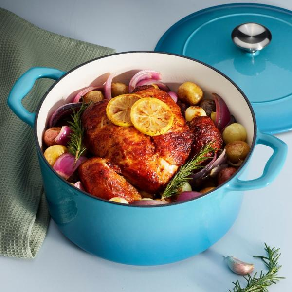 Gourmet 5.5 qt. Round Porcelain-Enameled Cast Iron Dutch Oven in Medium Blue with Lid