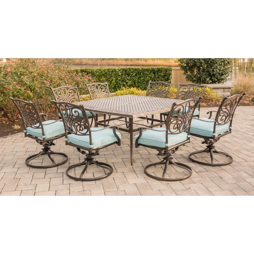 Hanover Traditions 9-Piece Outdoor Square Patio Dining Set and 8 Swivel Rockers with Blue Cushions