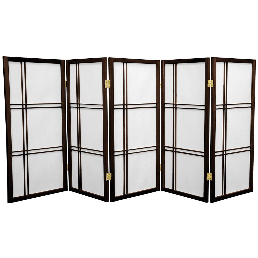 3 ft. Walnut 5-Panel Room Divider