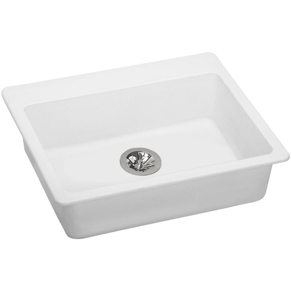 Elkay Quartz Classic Perfect Drain Drop-In Composite 25 in. Single Bowl ADA  Compliant Kitchen Sink in White