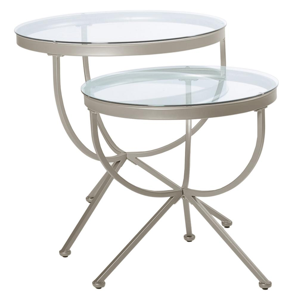 Unbranded Silver Tempered Glass Rounded Nesting Table 2 Piece Hd3322 The Home Depot