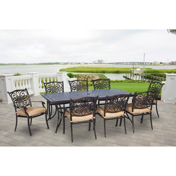 Traditions 9-Piece Aluminium Rectangular Patio Dining Set with Natural Oat Cushions