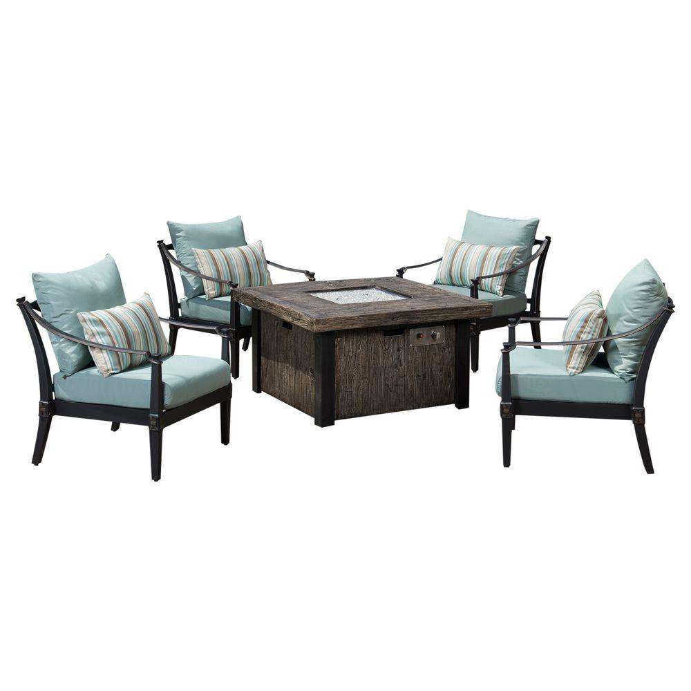 Astoria 5-Piece Fire Pit Chat Set with Bliss Blue Cushions