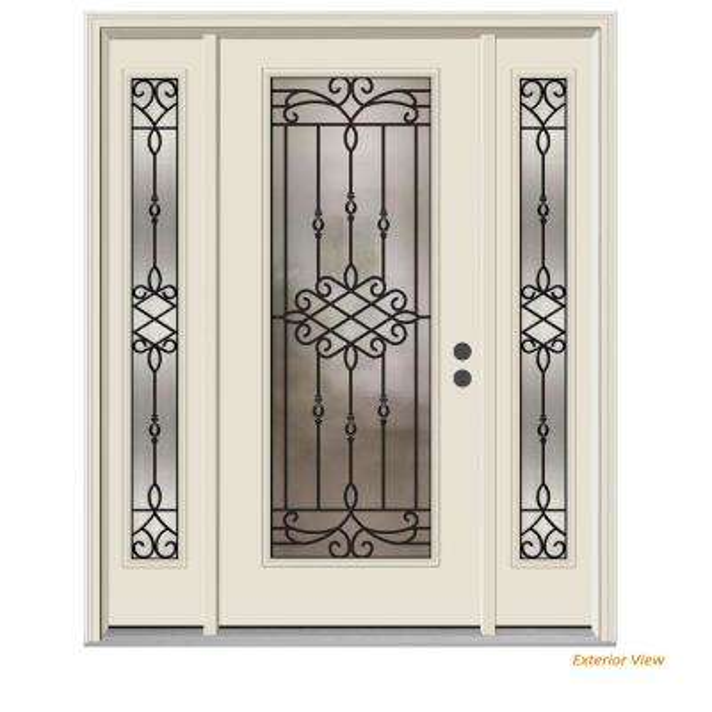 62 in. x 80 in. Full Lite Sanibel Primed Steel Prehung Left-Hand Inswing Front Door with Sidelites