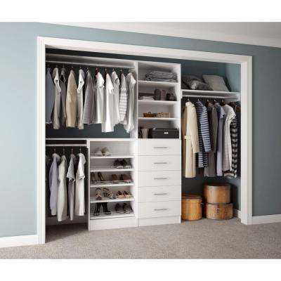 Assembled Reach-In 15 in. D x 120 in. W x 84 in. H Calabria in a Bianco White Melamine 11-Shelves Closet System