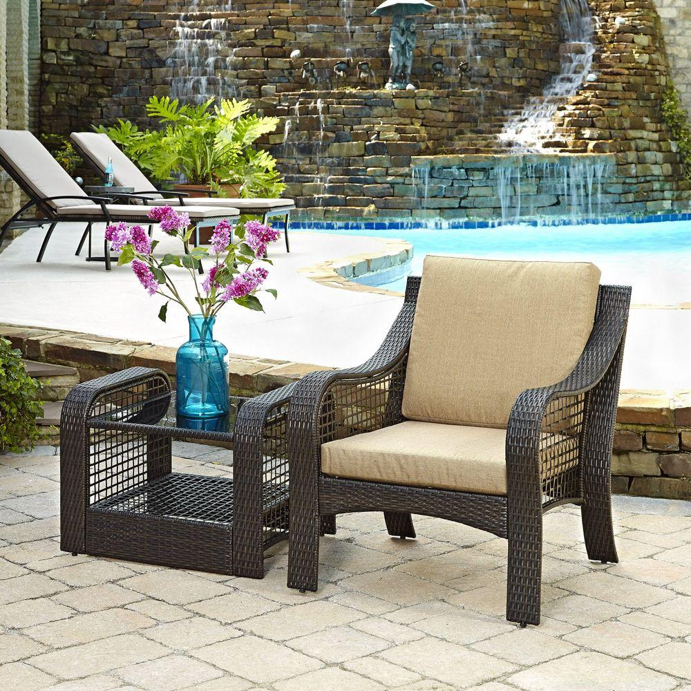 Home Styles Lanai Breeze Deep Brown 2 Piece Woven Patio Accent Chair And  End Table