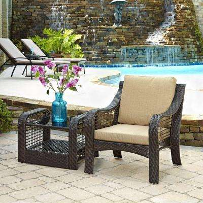 Lanai Breeze Deep Brown 2-Piece Woven Patio Accent Chair and End Table Set with Yellow Cushion