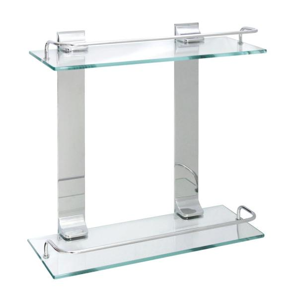 Modona 13 75 In X 13 5 In X 5 In Double Glass Wall Shelf With Pre Installed Rails In Polished Chrome D Gws Pc The Home Depot
